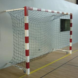 Pair of aluminium competition handball goals foldable on the wall 0.90 to 1.40m Sporti France